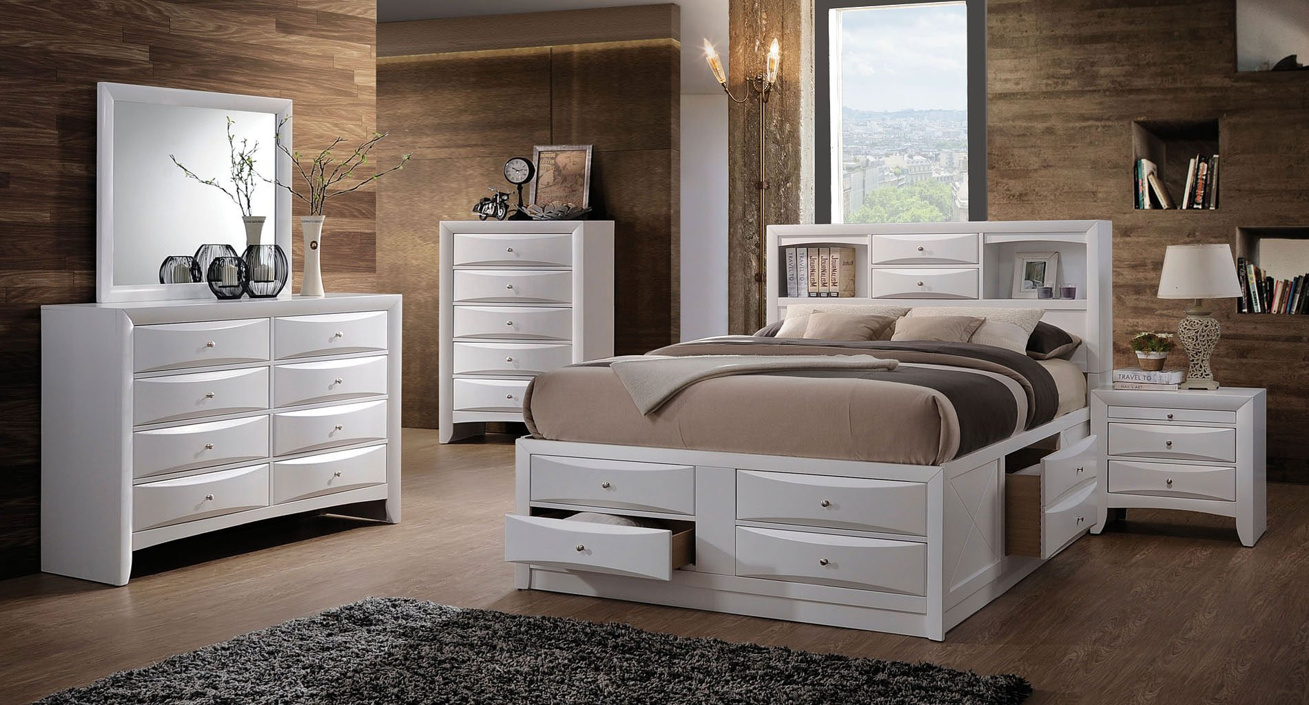 Ireland Bookcase Bedroom Set (White) By Acme Furniture