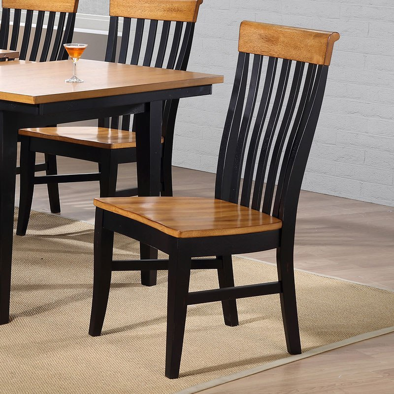 Missouri Round Dining Table Black Rustic Oak Eci: Lancaster Black And Rustic Side Chair (Set Of 2) By ECI