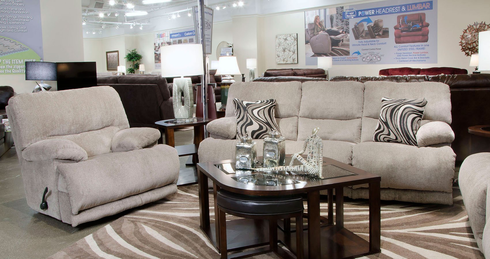 Jules Power Reclining Living Room Set Pewter By
