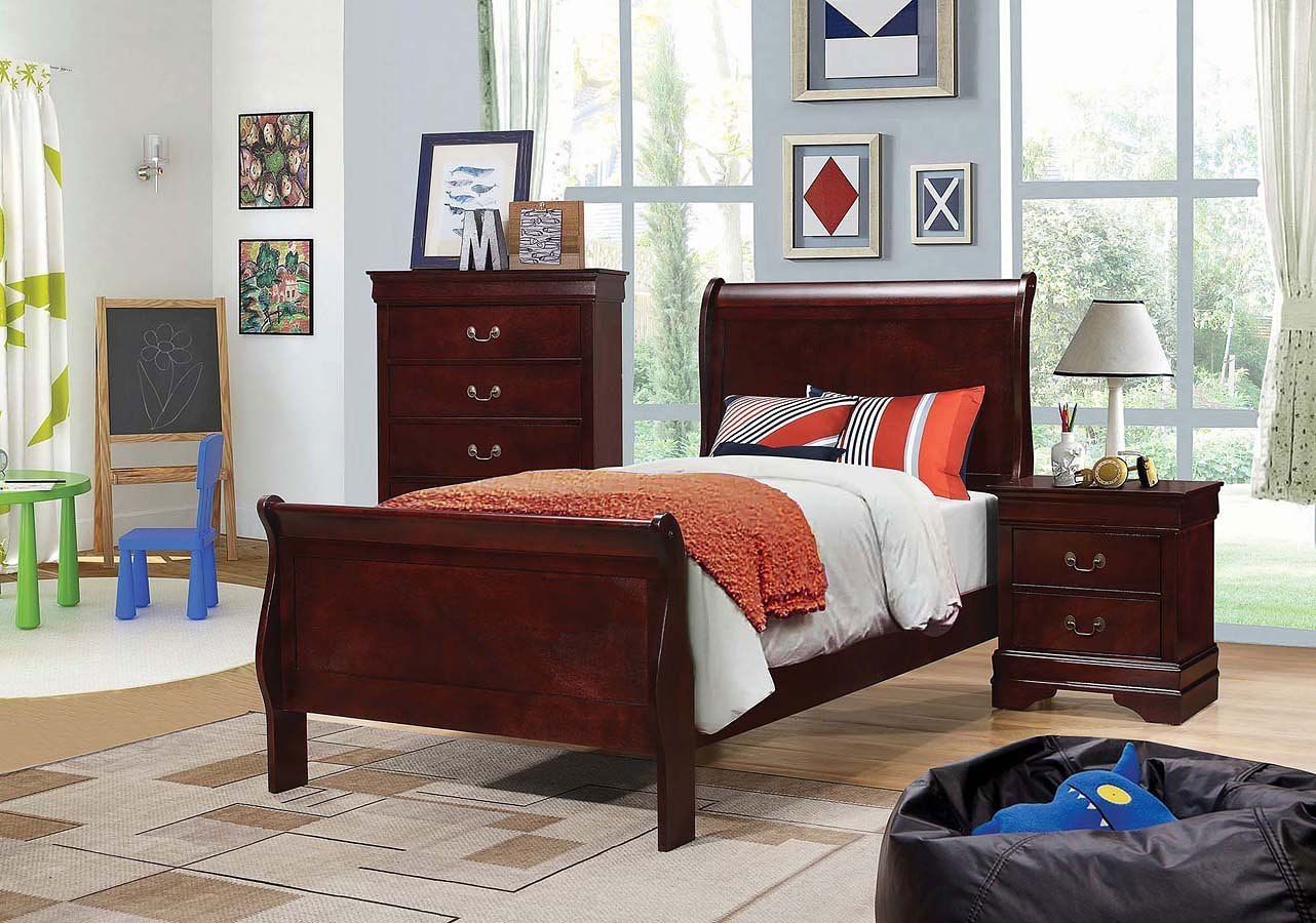 Louis philippe youth sleigh bedroom set red brown by - Louis philippe bedroom collection ...