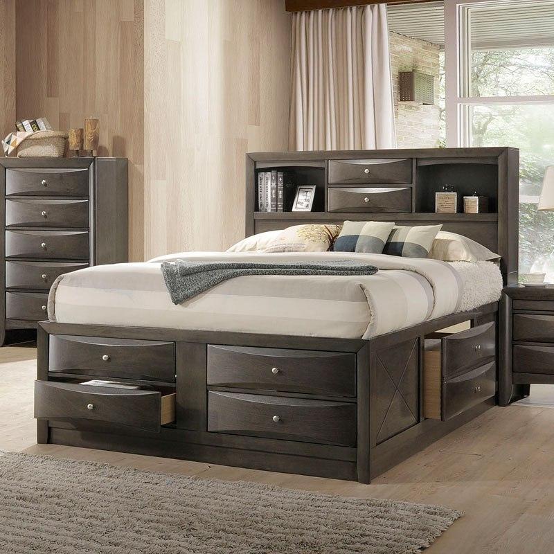 ireland youth full bookcase bedroom set (gray oak)acme