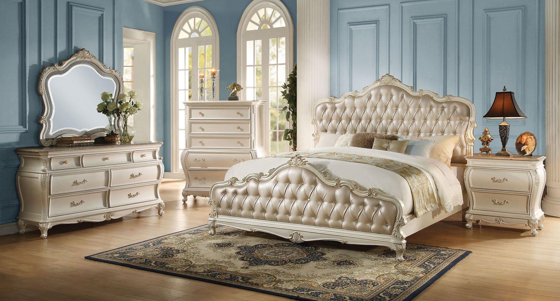 Chantelle Panel Bedroom Set (Pearl White)