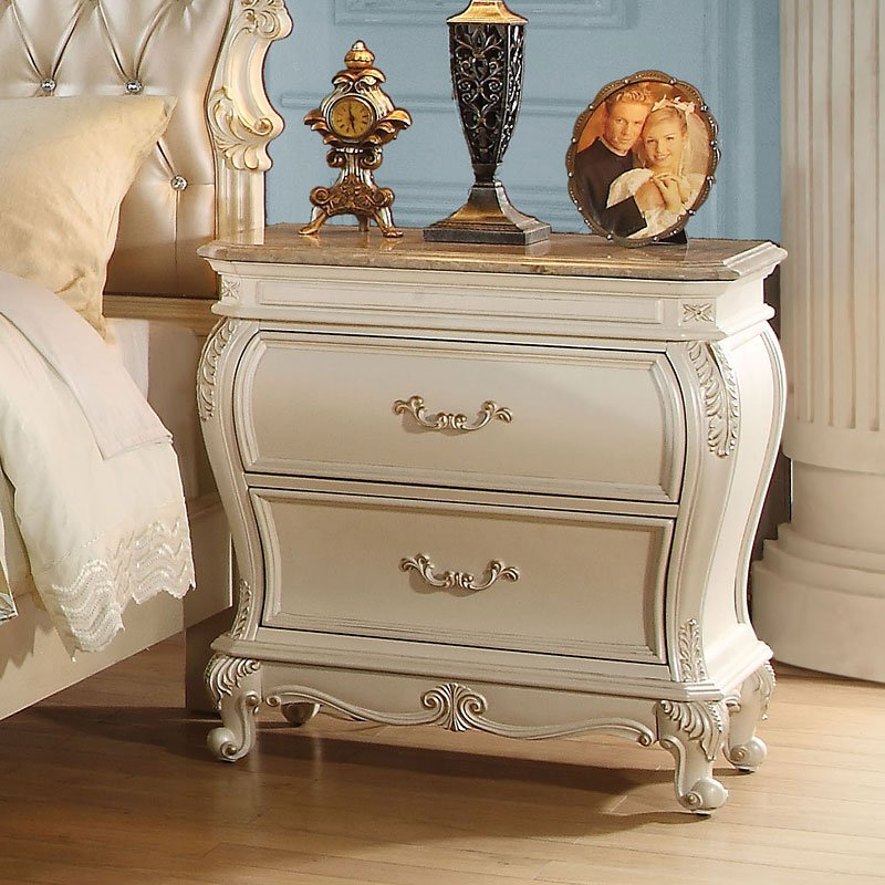 Chantelle Granite Top Nightstand (Pearl White) By Acme