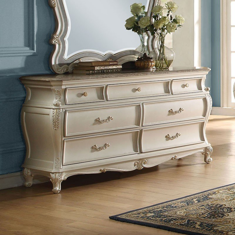 Chantelle Granite Top Dresser (Pearl White) By Acme