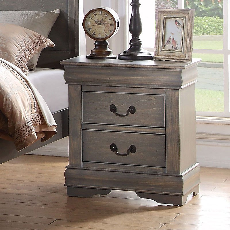Louis Philippe Nightstand Antique Gray By Acme Furniture
