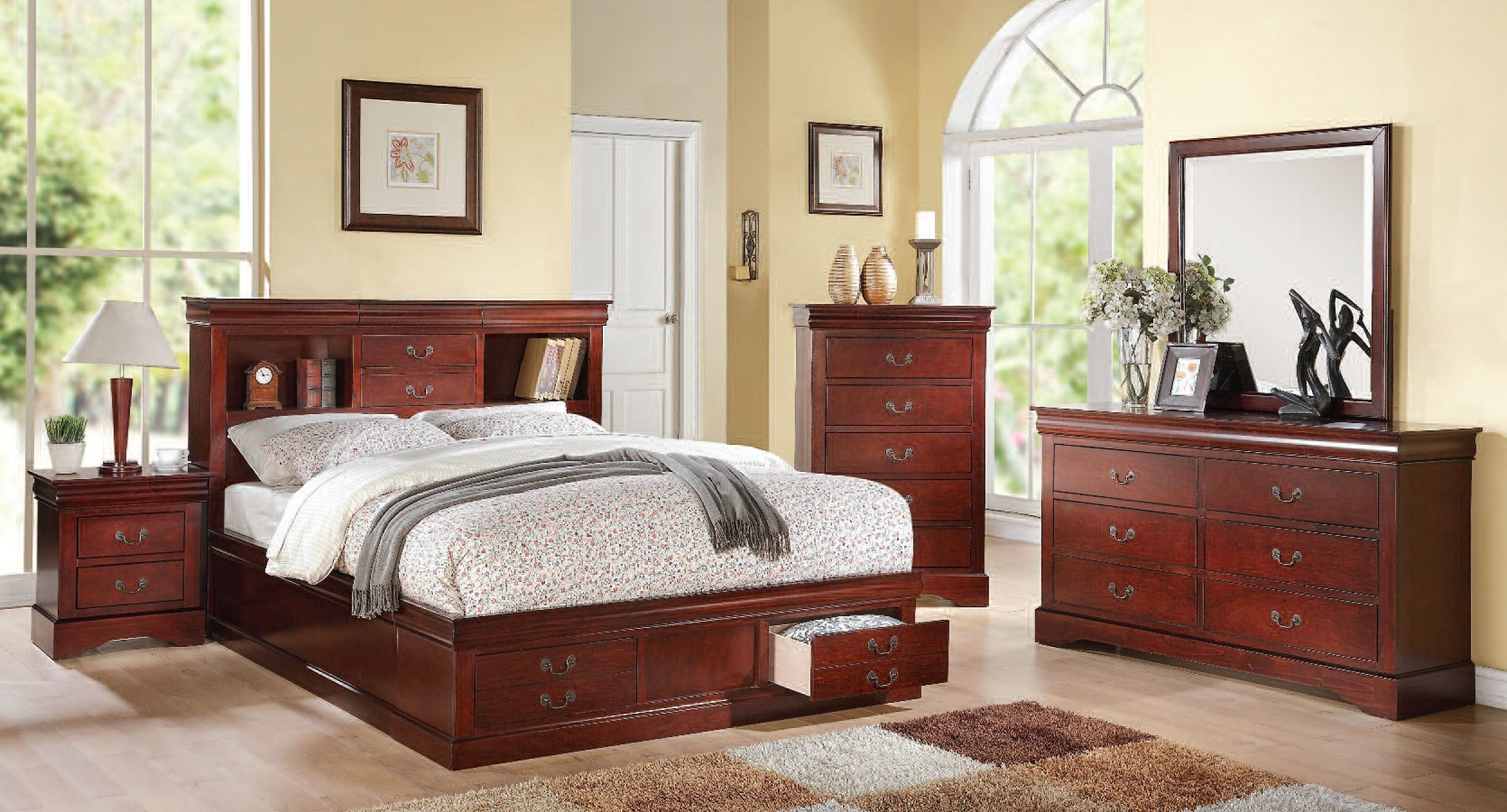 louis philippe iii bookcase bedroom set cherry bedroom 15928 | 24380q br set 1