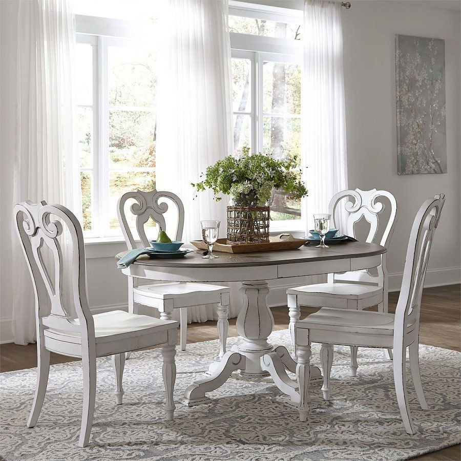 Magnolia Manor Pedestal Dining Set W Wood Chairs By Liberty