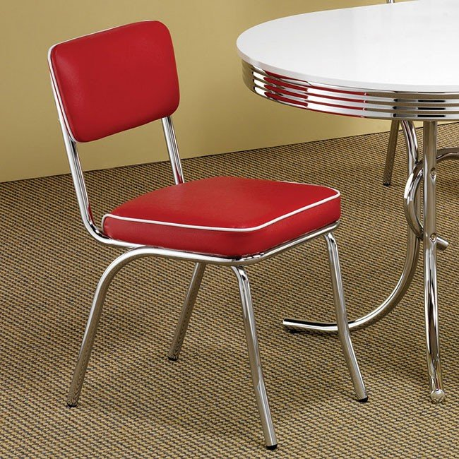 Retro Dining Room Chairs: Retro Dining Room Set W/ Red Chairs By Coaster Furniture