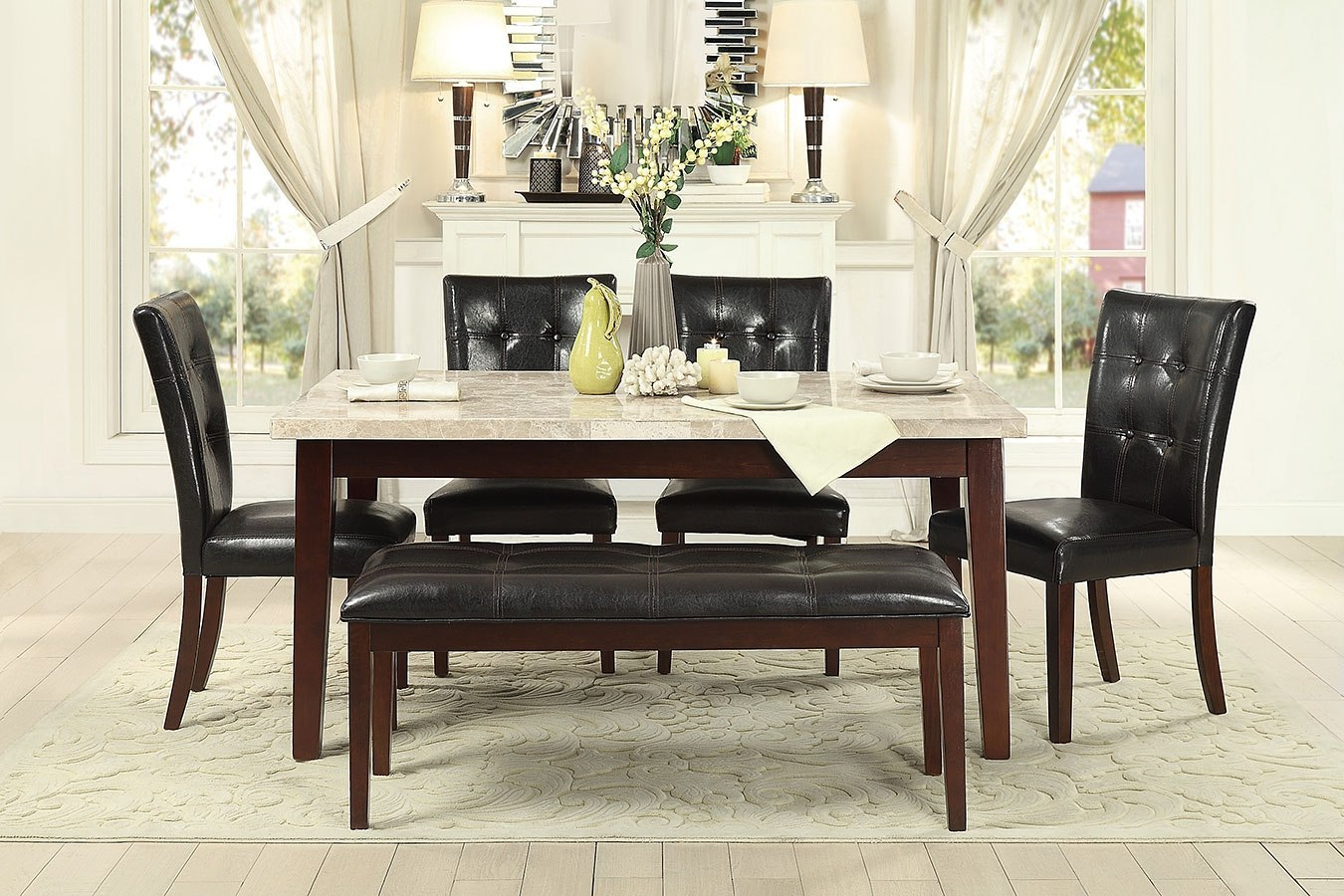 Decatur Dining Room Set w/ Bench (White Marble Top)