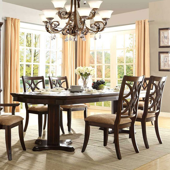 Double Pedestal Dining Room Table: Keegan Double Pedestal Dining Room Set By Homelegance