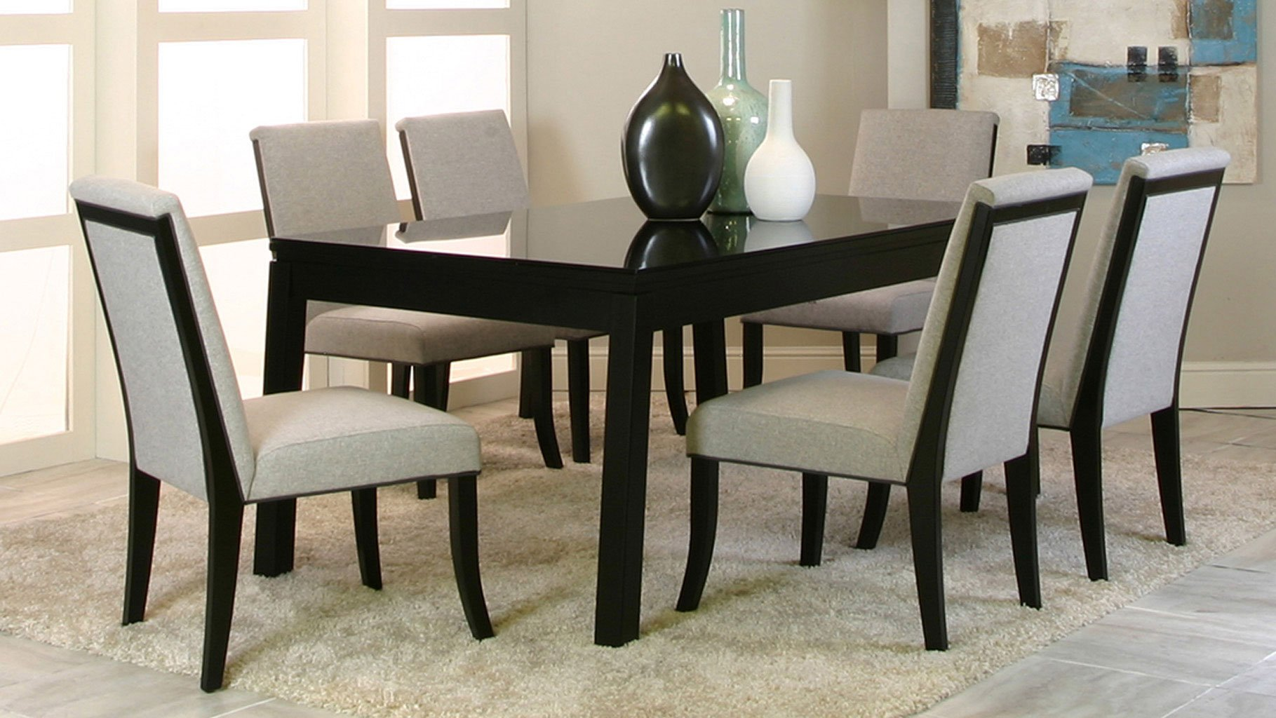Nicole Black Glass Top Dining Room Set By Cramco
