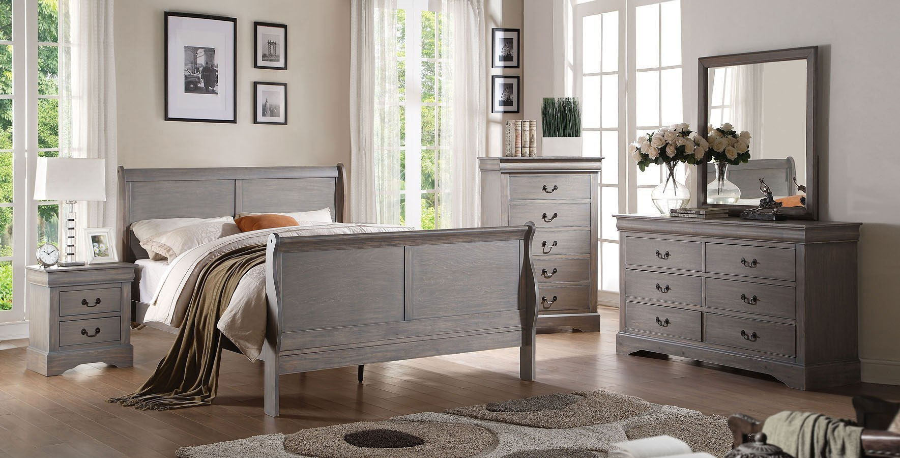 Louis Philippe III Sleigh Bedroom Set (Gray)