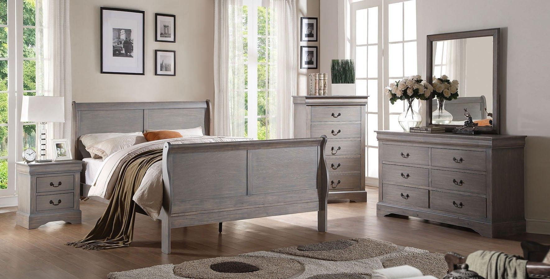 Wonderful Louis Philippe III Sleigh Bedroom Set (Gray)