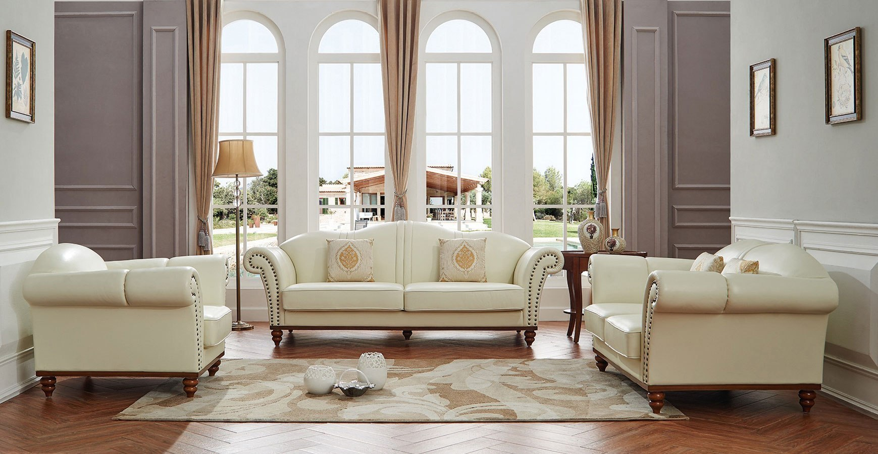 2601 Italian Leather Living Room Set By Esf Furniture
