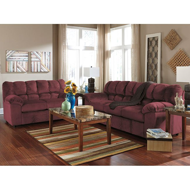 Julson Burgundy Living Room Set Signature Design By Ashley