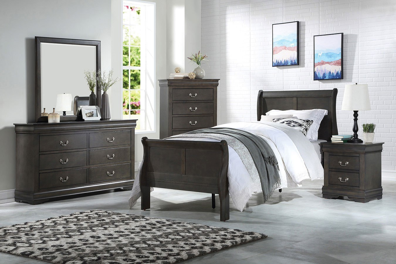 Louis Philippe Youth Sleigh Bedroom Set (Dark Gray) By