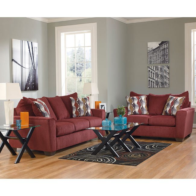 Brogain Burgundy Living Room Set Living Room Sets