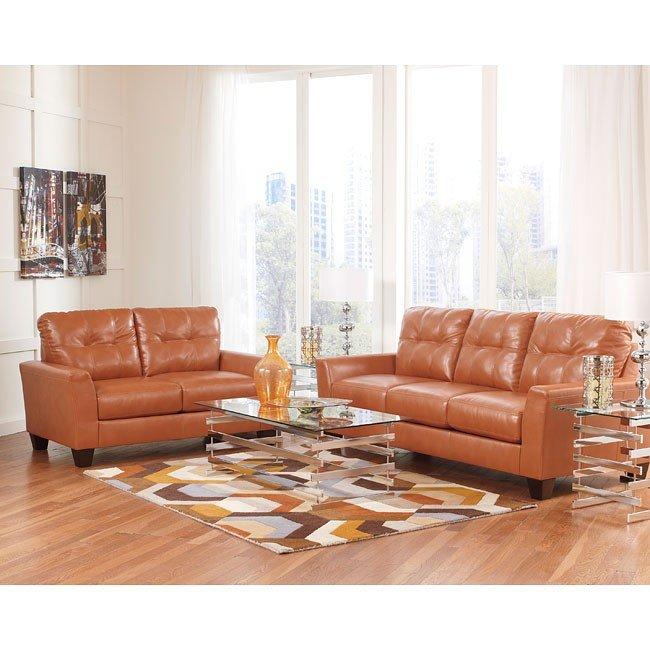 Paulie DuraBlend Orange Living Room Set By Benchcraft, 1