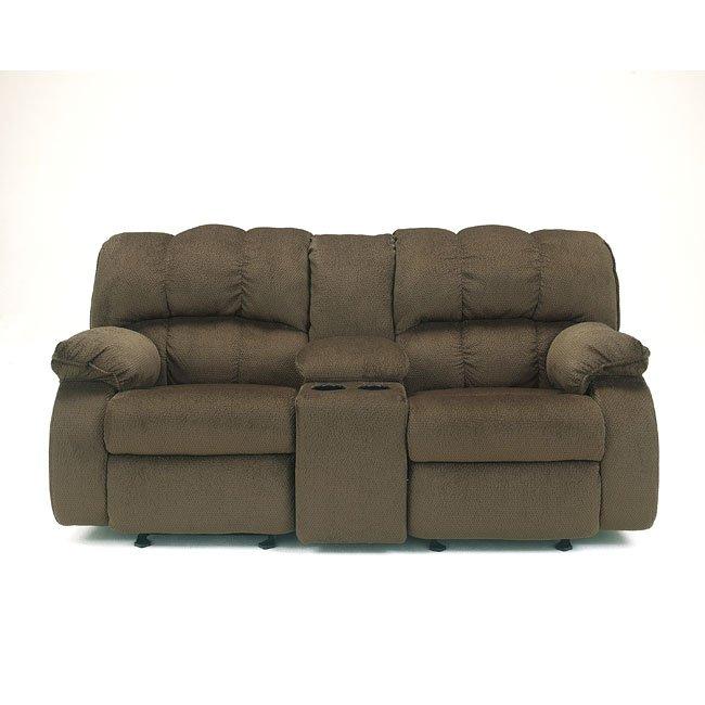 Astounding Ledgestone Walnut Glider Recliner Loveseat W Console Uwap Interior Chair Design Uwaporg