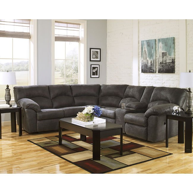 Tambo Pewter Reclining Sectional Set By Signature Design By Ashley