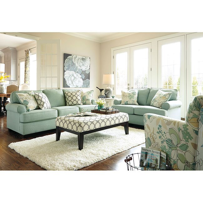 Daystar Seafoam Living Room Set by Signature Design by Ashley, 7 ...