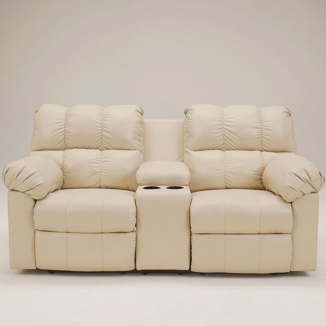 Kennard Cream Reclining Loveseat W Console By Signature