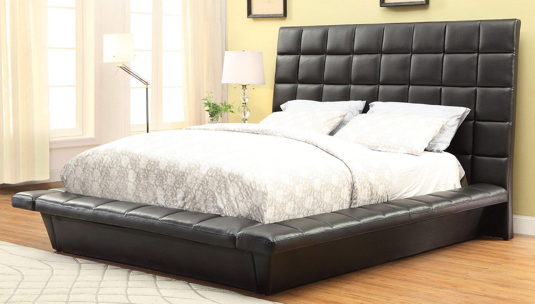 Louisa platform upholstered bed beds bedroom furniture for Furniture n more beds