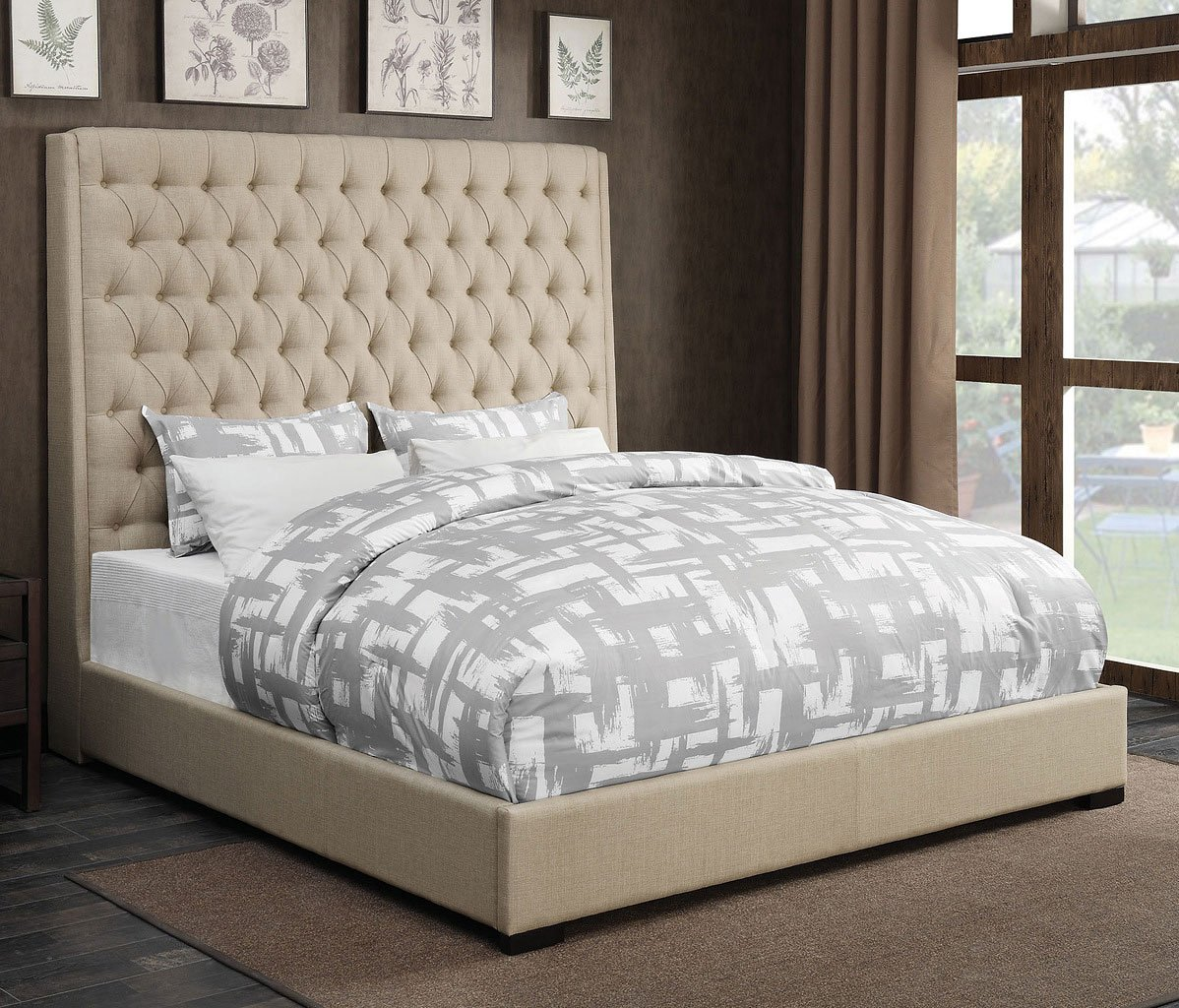 Camille Upholstered Bed Cream Beds Bedroom Furniture
