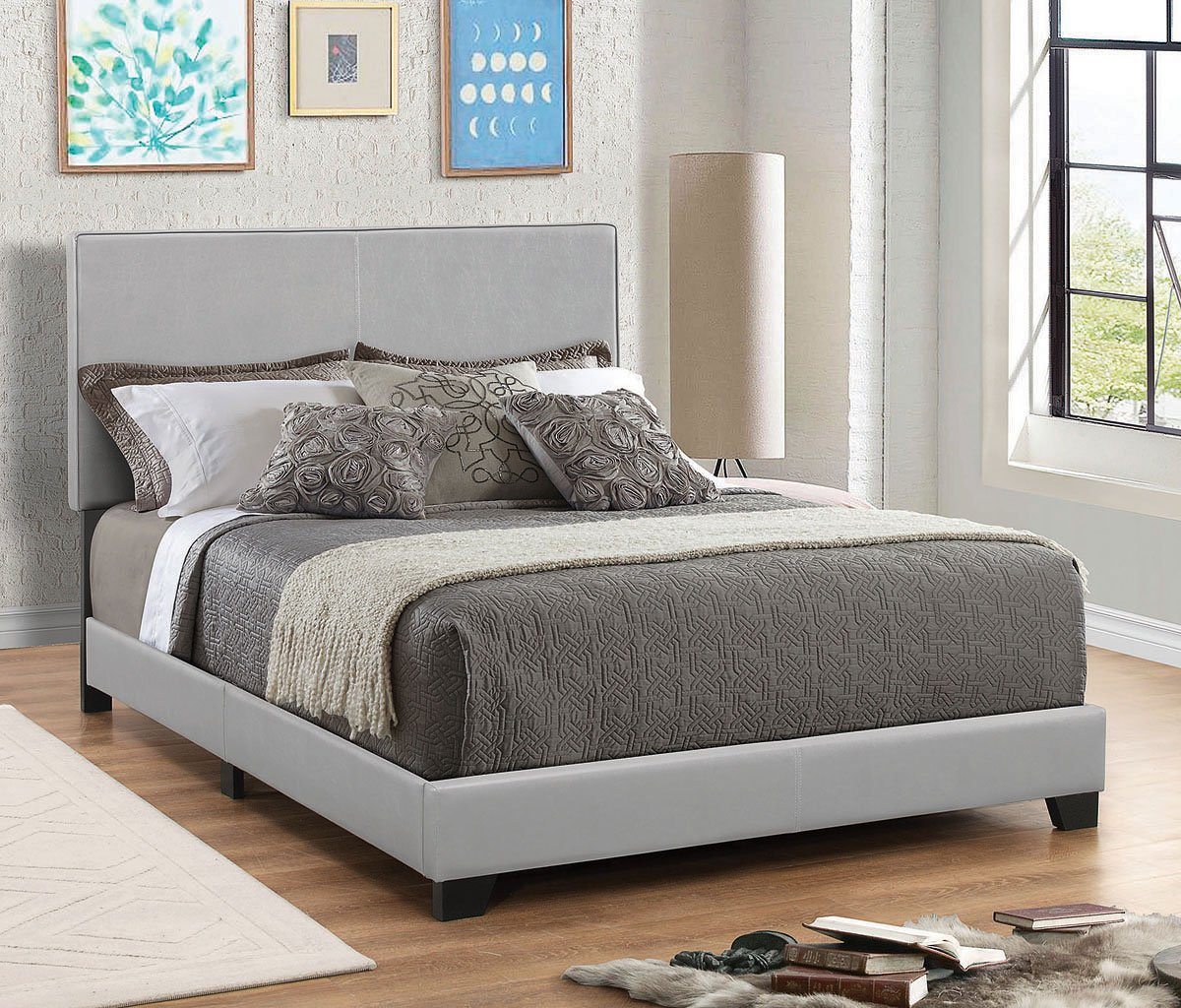 Dorian Upholstered Bed (Grey) By Coaster Furniture