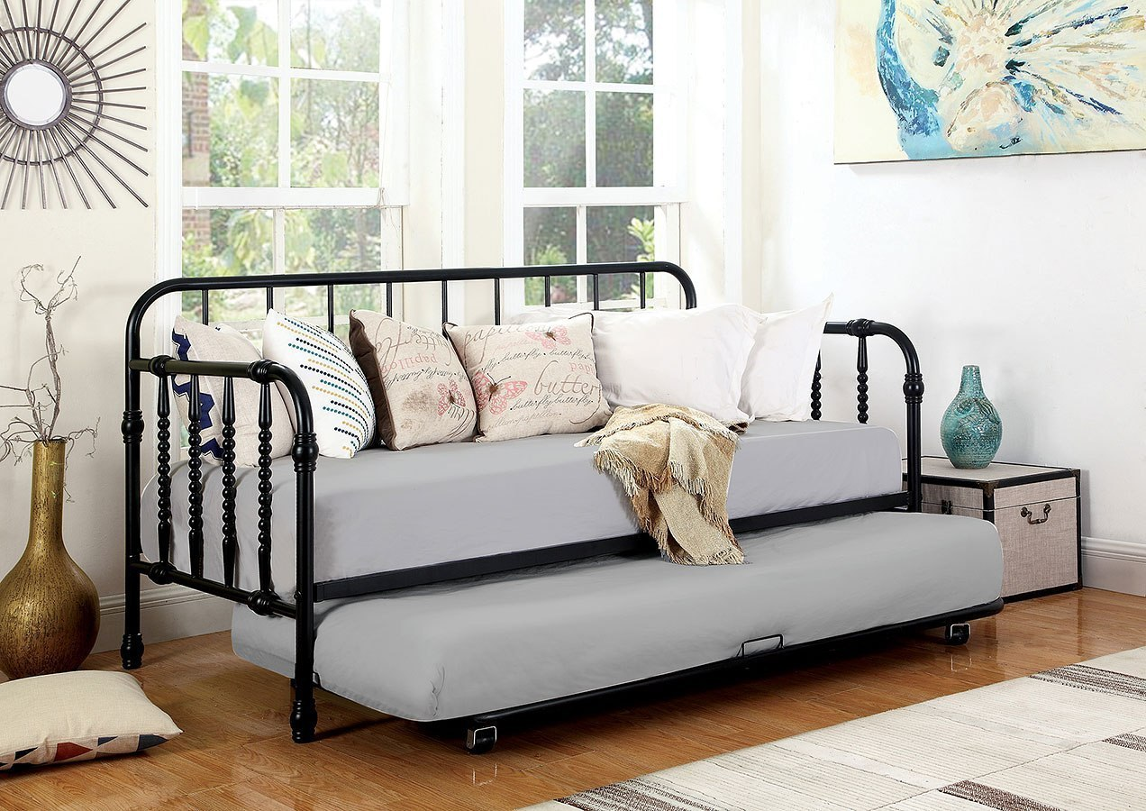 - Black Twin Metal Daybed W/ Trundle By Coaster Furniture