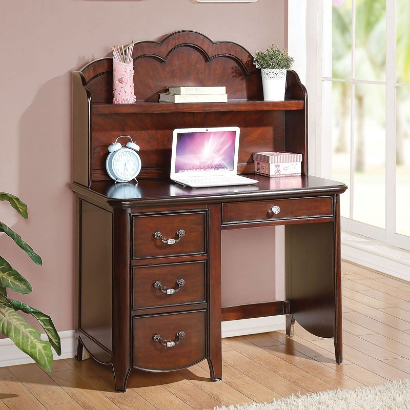 Cecilie Computer Desk W Hutch Cherry