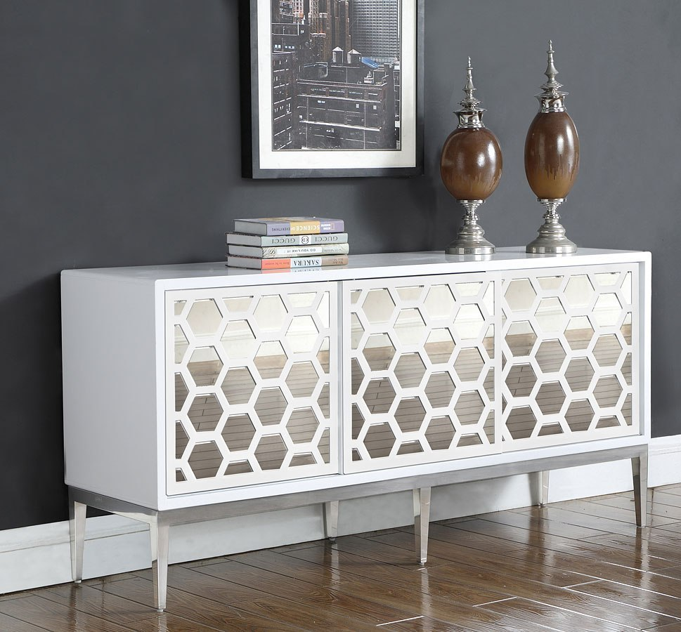 Zoey Sideboard/ Buffet (White/ Chrome) By Meridian