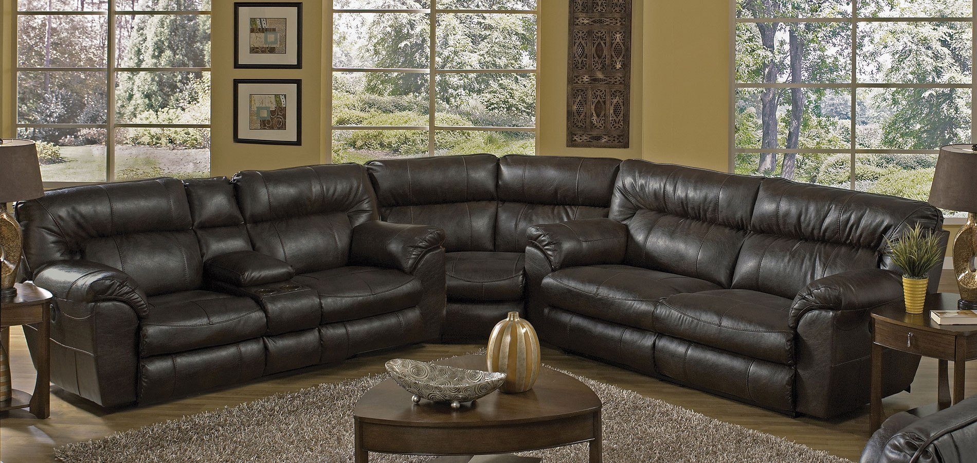 Nolan Extra Wide Reclining Sectional Godiva By Catnapper