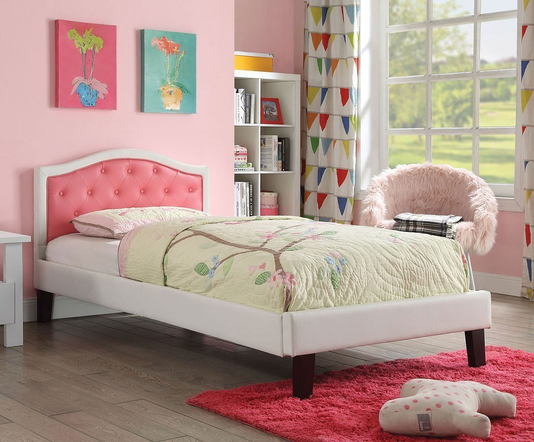 Rheanna Upholstered Bed (Pink/ White)