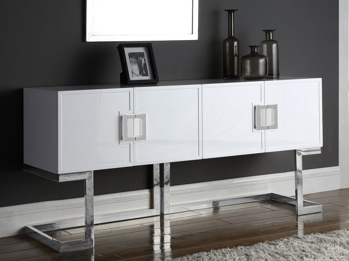 Beth Sideboard/ Buffet (White/ Chrome) By Meridian