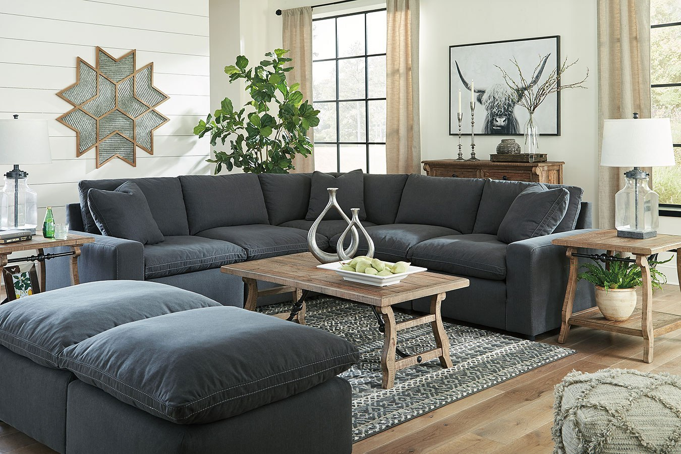 Savesto Charcoal Modular Sectional Set By Signature Design