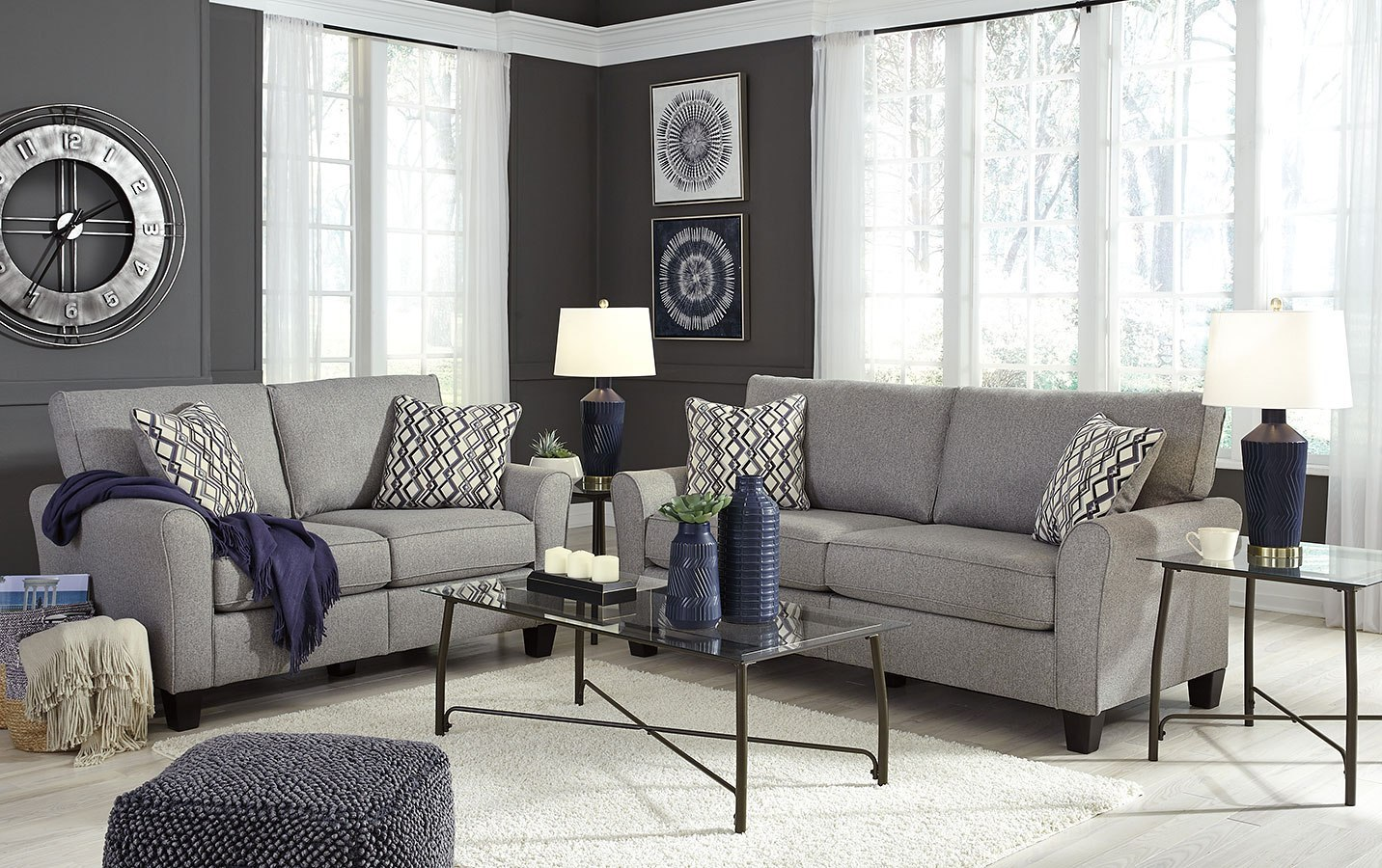 Strehela Silver Living Room Set By Signature Design By