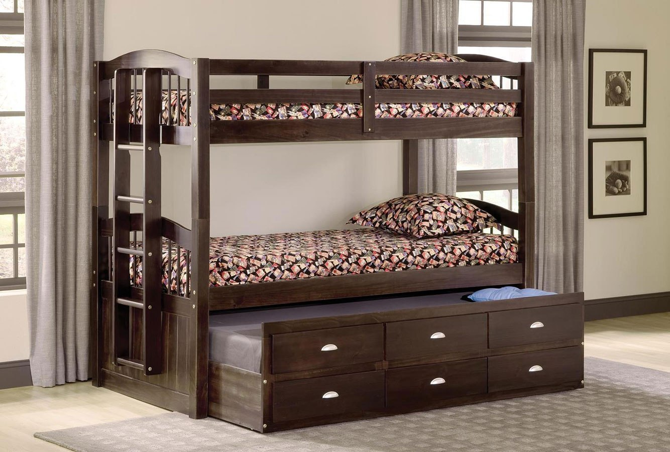 Maddock Twin Over Twin Bunk Bed W Trundle And Storage Kids And