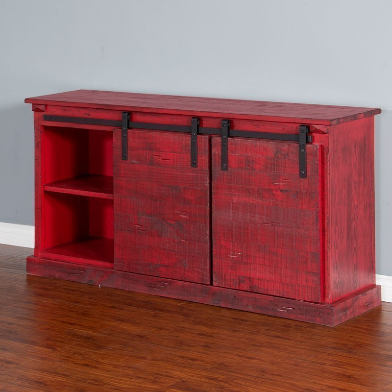 Burnt Red 65 Inch Tv Console By Sunny Designs Furniturepick