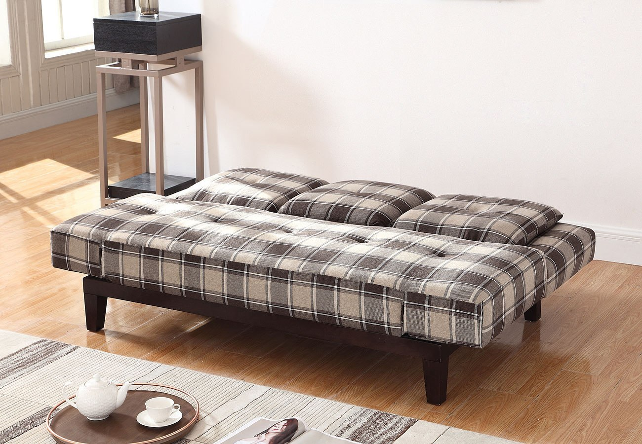 Grey And Brown Plaid Sofa Bed W/ Drop Down Console