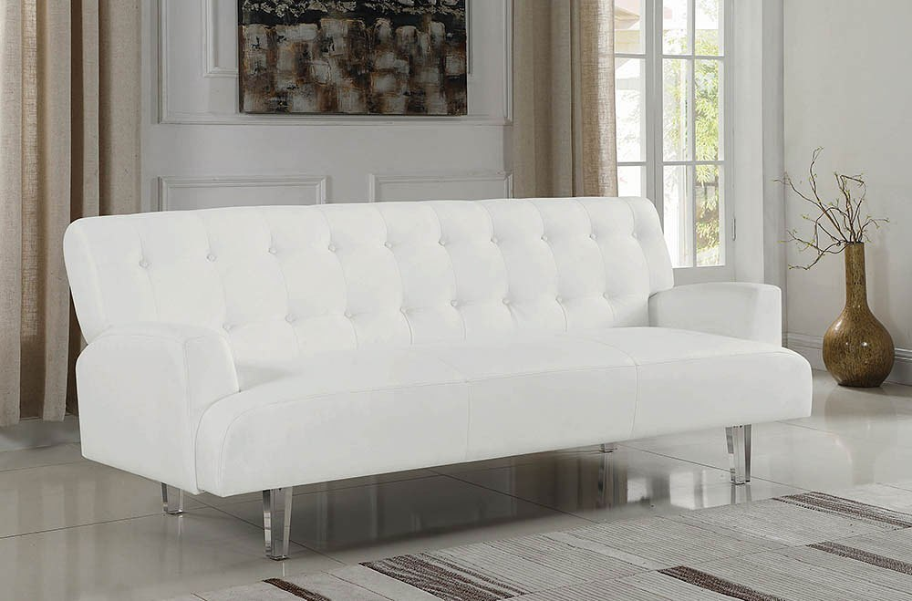 White Sofa Bed W Acrylic Legs By Coaster Furniture