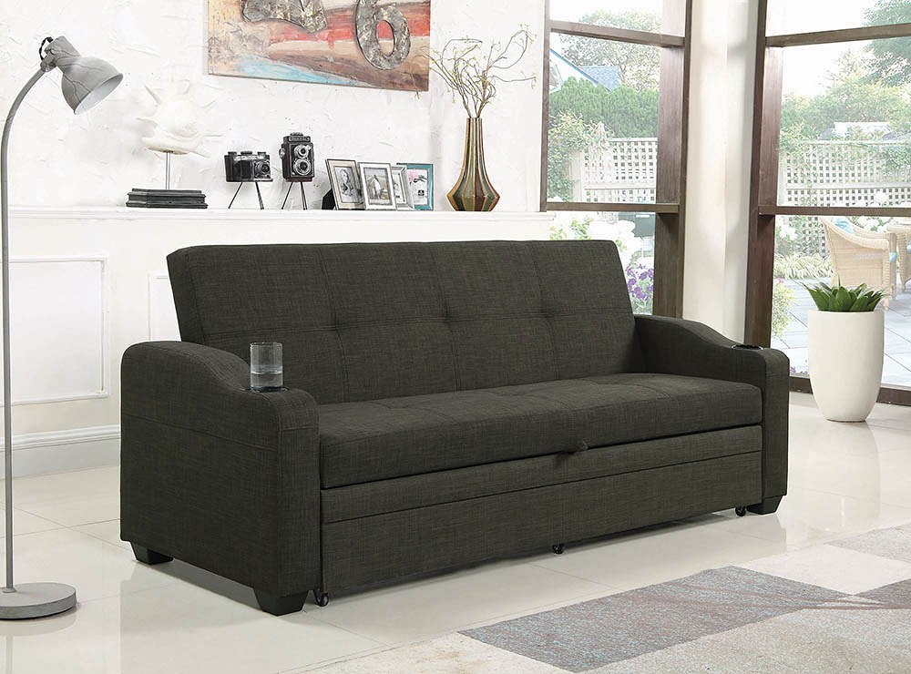 Charcoal Grey Sofa Bed W Pull Out Sleeper By Coaster
