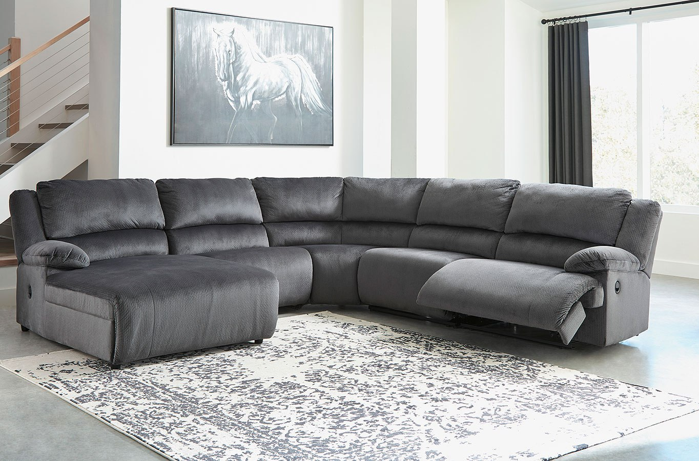 Clonmel Charcoal Modular Reclining Sectional By Signature