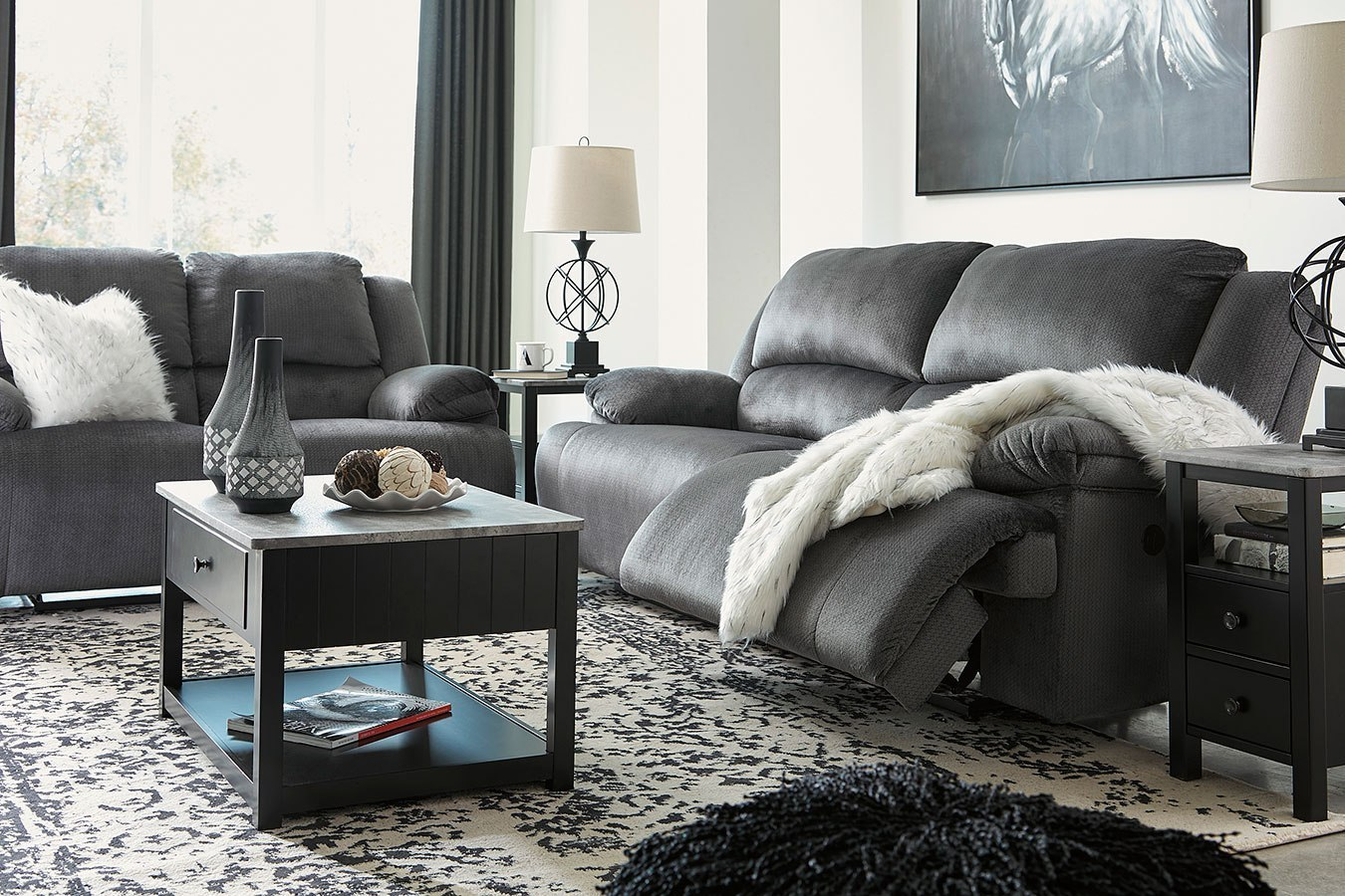 Clonmel Charcoal Power Reclining Living Room Set By
