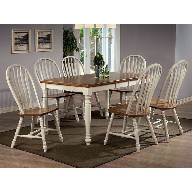 Antique Oak Dining Room Furniture: Antique White And Oak Rectangular Dining Room Set By ECI
