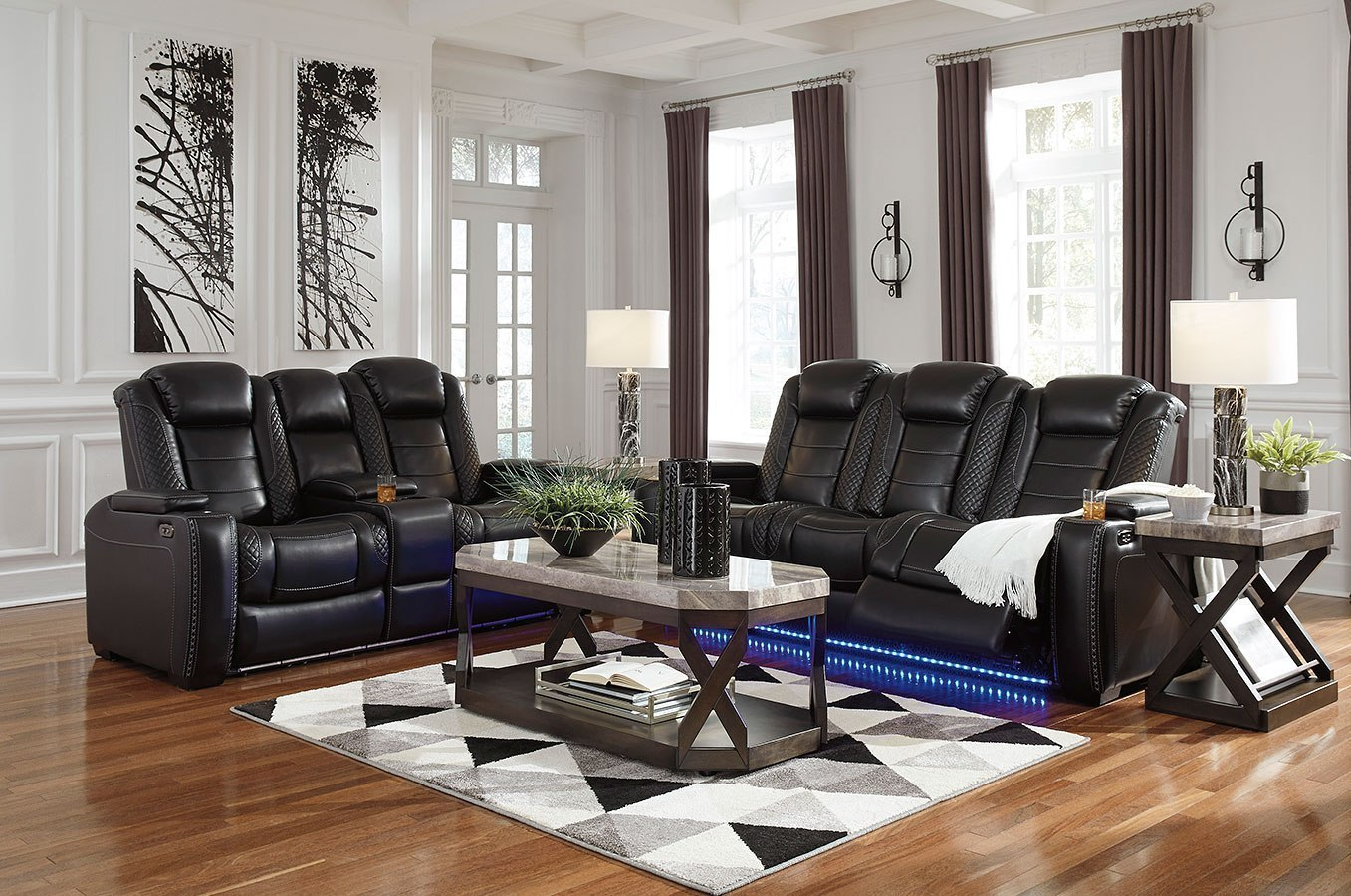 Party Time Midnight Power Reclining Living Room Set W