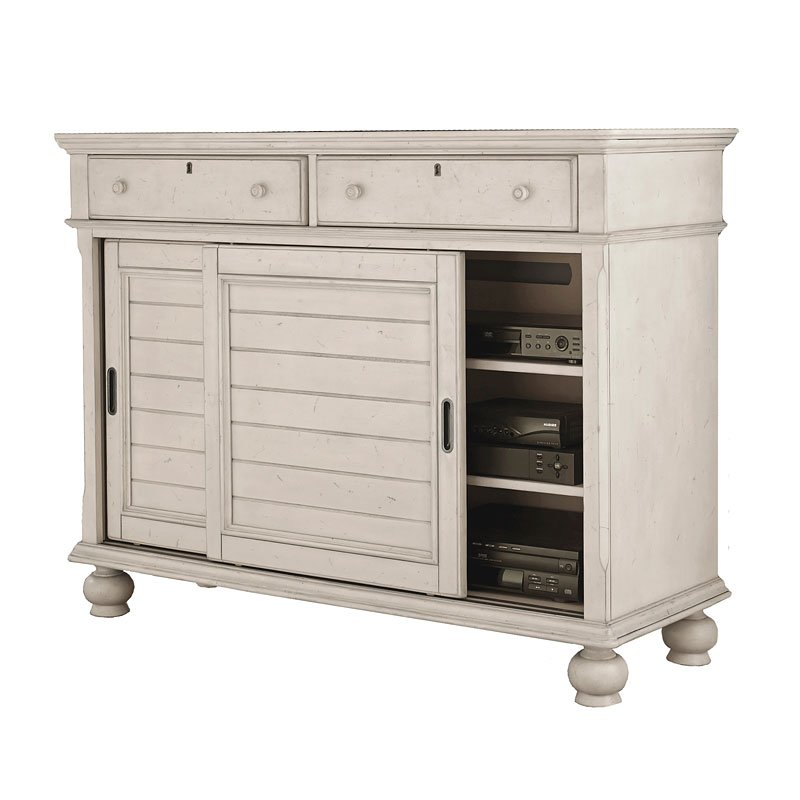 Newport media chest antique white media chests media cabinets tv chests bedroom for White media chest for bedroom