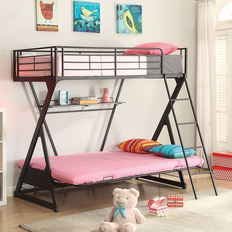 Zazie Twin Over Full Futon Bunk Bed W Bookshelf