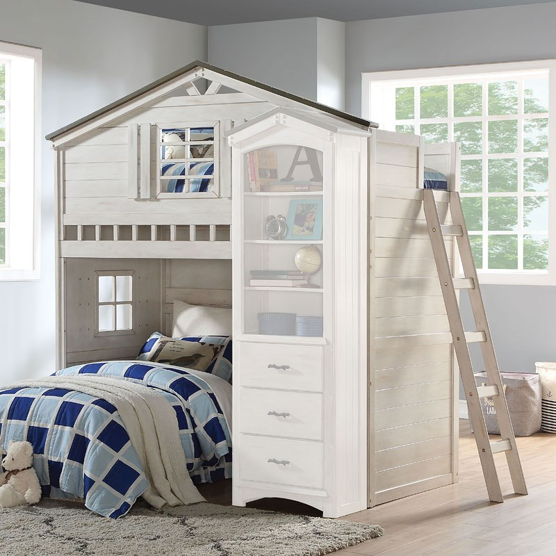 Tree House Loft Bed Weathered White Gray By Acme