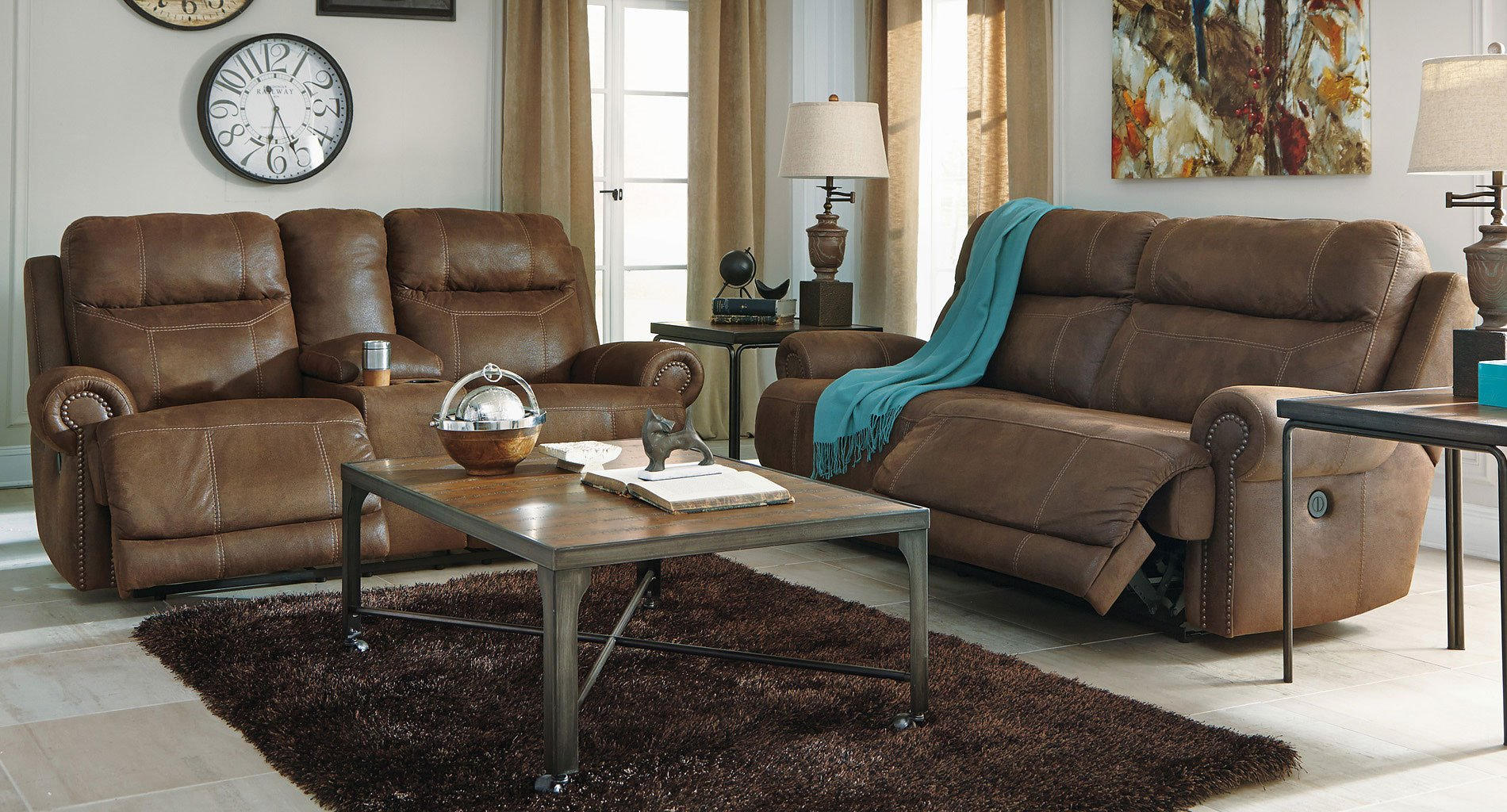 Austere Brown Reclining Living Room Set By Signature